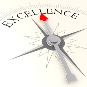 Excellence compass image with hi-res rendered artwork that could be used for any graphic design.